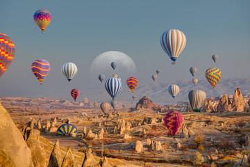 Printed kitchen splashbacks Turkey Hot air balloon flying over spectacular Cappadocia