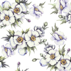 Seamless pattern with anemones. Hand draw watercolor illustration