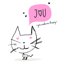 greeting card with a cat in love