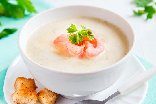 cream soup with shrimps