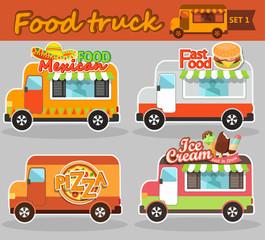 Food truck vector illustrations.