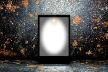 Blank billboard in empty dark room
