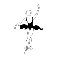 Abstract woman dancer line art illustration. Ballet posing performance. Ballerina classical drawing