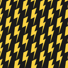 Yellow lightnings black vector seamless pattern