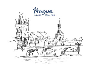 ink sketch line drawing of Prague old town top cityscape with ha
