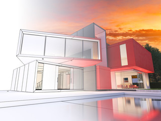Modern red house project