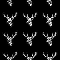 Pattern deer head, icon. Repeated, seamless, hand drawn. Black background.