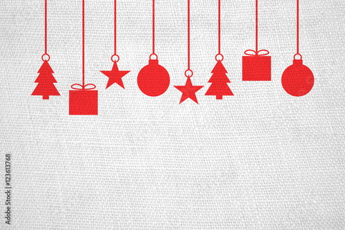 leinenstoff mit weihnachtsdeko wei rot stockfotos und. Black Bedroom Furniture Sets. Home Design Ideas