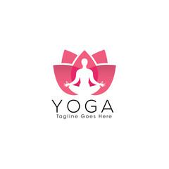Yoga and Meditation Creative Concept Logo Design Template