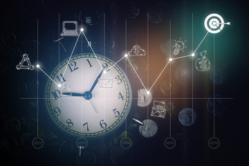 Alarm clock, coins, graph and business icons. business strategy