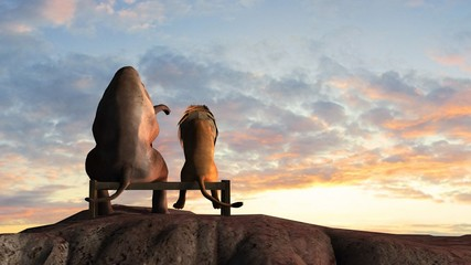 Elephant and lion on a mountain top sit on a bench at sunset