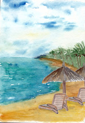 Hand painted with watercolor Palm and tropical beach background
