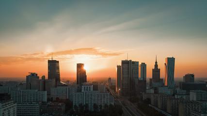 Warsaw Downtown sunrise skyline, Poland