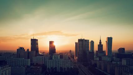 Fototapeta Warsaw Downtown sunrise skyline, Poland