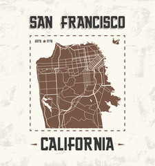 San Francisco vintage t-shirt graphic design with city map.