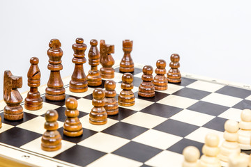 Close-up of chess game with shallow depth of field.