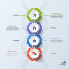 Timeline business infographic template with 4 steps, processes, parts, options. Vector illustration.