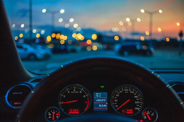 Summer evening at city parking lot
