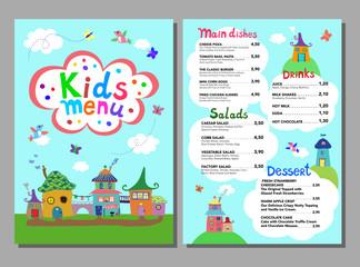 Cute colorful meal kids menu template. Vector illustration