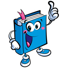 Cartoon cute book mascot character an education and learning con