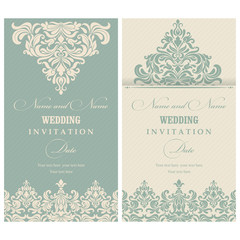 Invitation cards in an old-style beige and green.