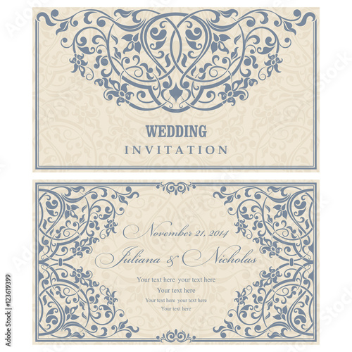 Wedding Invitation Cards In An Vintage Style Blue Stock