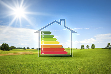 green house in the sun with energy efficiency graph