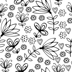 Beautiful monochrome floral ornament. Vector seamless pattern.