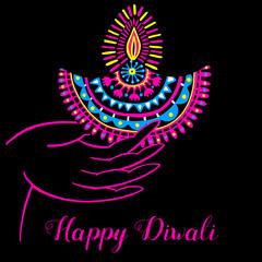 Diwali vector illustration. Indian festival of lights