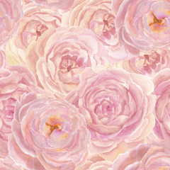Watercolor Seamless pattern with Beautiful rose flowers  , Watercolor painting