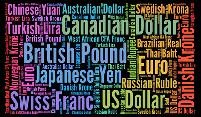 Currencies word cloud concept
