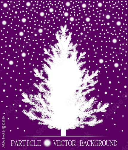 abstract falling snow particles and new year christmas tree on violet background style background for