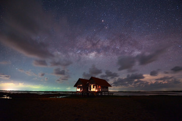 Milky Way Galaxy star and could over two house  at Night,Talenoi Thailand