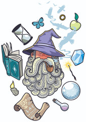 Wizard Portrait / Portrait of wizard smoking pipe. Different objects float around him.