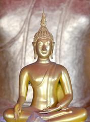 Golden Buddhist statues,Asia.