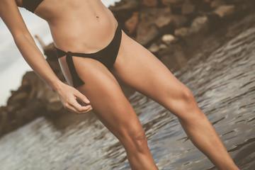 woman torso in beach