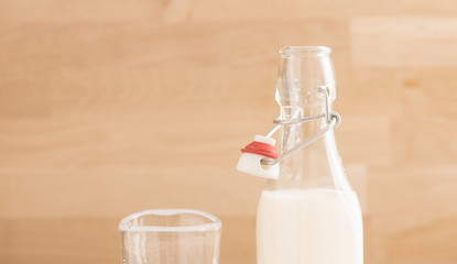 Milk in glass bottle