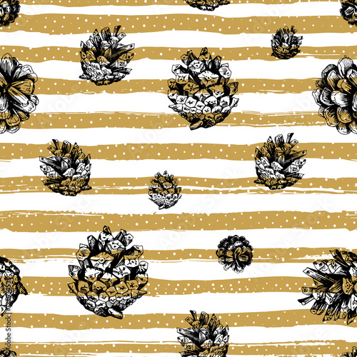 Gold Strips And Fir Cones Seamless Pattern On Striped Background Christmas Repeating Hand