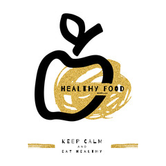 Artistic apple symbol, Healthy food concept. Hand-drawn black marker apple, Gold brush strokes. Trendy icon, card, flyer. Ultra modern graphic design, Unusual artwork, Vector illustration