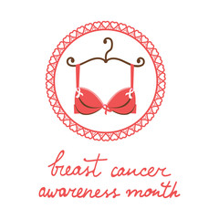 Breast cancer awareness month card with a bra and pink ribbon