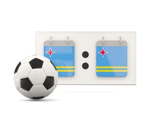 Flag of aruba, football with scoreboard