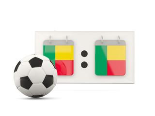 Flag of benin, football with scoreboard