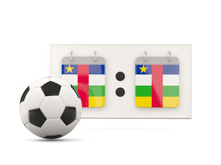 Flag of central african republic, football with scoreboard