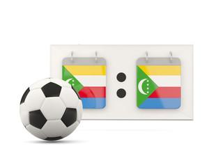 Flag of comoros, football with scoreboard