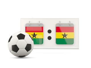 Flag of ghana, football with scoreboard