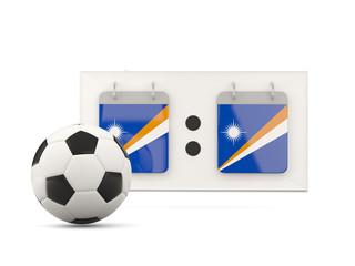 Flag of marshall islands, football with scoreboard