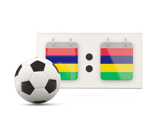 Flag of mauritius, football with scoreboard