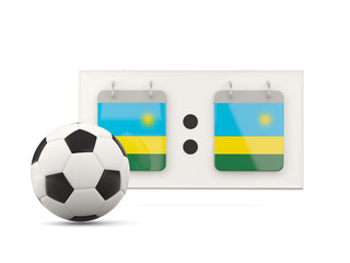 Flag of rwanda, football with scoreboard