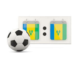 Flag of saint vincent and the grenadines, football with scoreboa