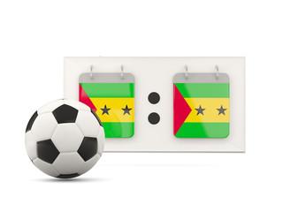 Flag of sao tome and principe, football with scoreboard